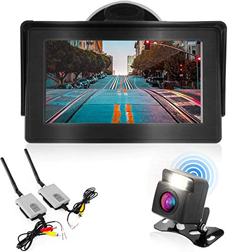 """Wireless Backup Rear View Camera - Waterproof Car Parking Rearview Reverse Safety/Vehicle Monitor System w/ 4.3"""" Video Color LCD Display Screen, Distance Scale Lines, Night Vision - Pyle PLCM4580WIR"""
