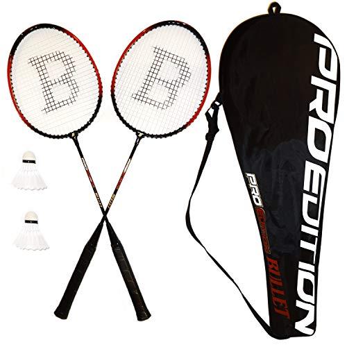Set de bádminton de plumas y 2 raquetas con plumas y funda