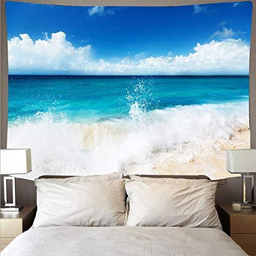 KHKJ Hermoso mar Playa Cielo Azul Paisaje Tapiz Tela de Pared Arte Tapiz Hippie Colgante de Pared psicodélico Toalla de Playa A5 200x180cm
