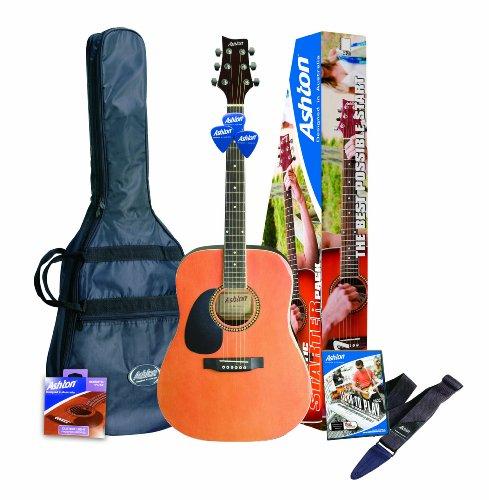 Ashton SPD25LNTM Linkshänder Akustik Gitarre mit eingebauten Tuner und Zubehör naturholz