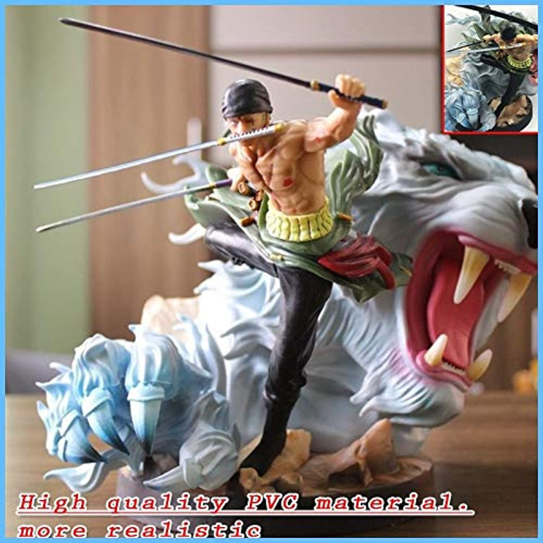 Hundred Arts Anime One Piece Figure GK Tiger Hunting Three Blade Rgoldnoa Zgold Figure White Tiger Statue Model Toy 24  36  22cm