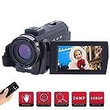 Caméscope Numérique Full HD 1080P,FamBrow Caméra Vidéo 24MP 16X Zoom Numérique 3.0 Pouces 270 Degrés LCD Ecran Rotatif...