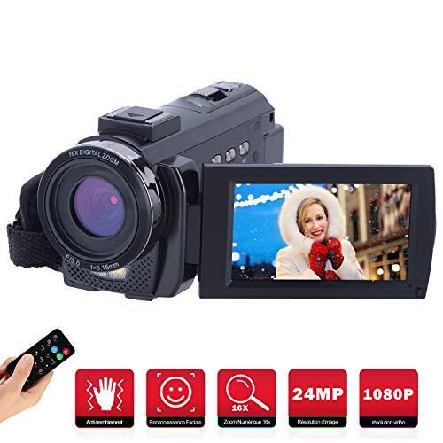 Caméscope Numérique Full HD 1080P,FamBrow Caméra Vidéo 24MP 16X Zoom Numérique 3.0 Pouces 270 Degrés LCD Ecran Rotatif Appareil Photo avec Éclairage D'appoint Intégré