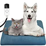 Pet Heating Pad for Cats Dogs With 10 Adjustable Temperature and 4 Adjustable Timer Heated Cat Bed Electric Blanket Chew Resistant Dog Crate Mattress 45x45cm