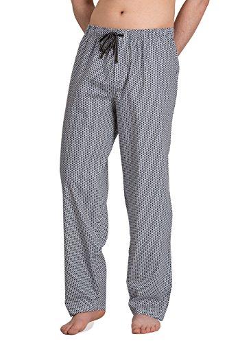 Moonline - Herren Webhose Freizeithose Loungewear aus 100{e8aef55686d2f2c4b9c1a2806fd98c4f6662bc54246b3eee8a8fd9d847a64a63} Baumwolle, Größe:50/52, Farbe:weiß/Navy