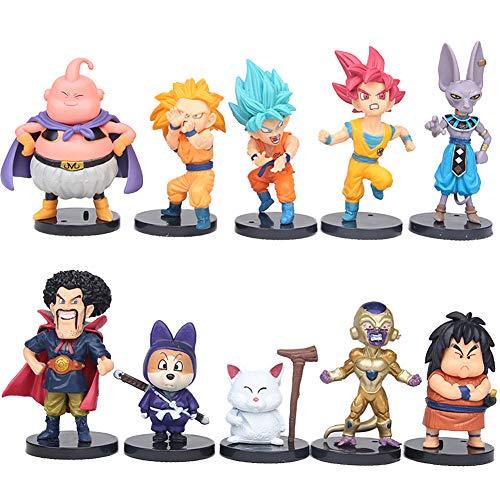 REYOKG Dragon Ball Mini Figurine 10pcs Figurines Dragon Ball Gâteau Cake Topper Mini Figurine Jouet PVC Jouet Goku Personnages Figure Jouets pour Enfants Animaux Jouets Ensemble