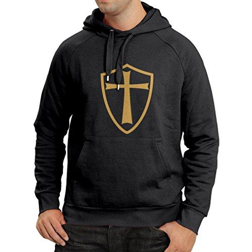 lepni.me Sudadera con Capucha Caballeros Templarios - Escudo de los Templarios (XX-Large Negro Oro)