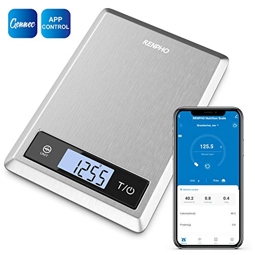 RENPHO Smart Nutrition Food Scale, Bluetooth Digital Kitchen Scale with Nutritional Calculator for Keto, Macro, Calories and Weight Loss with App, Stainless Steel