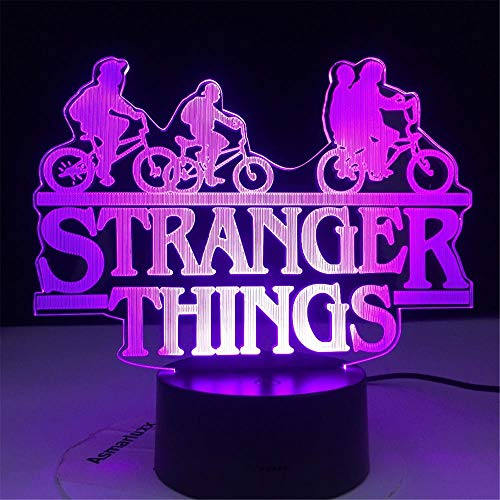 Stranger Things A Optical Illusion 3D-Lampe, USB-betrieben, 16 Farben, blinkender Touch-Schalter, Schlafzimmer-Dekoration, Beleuchtung für Kinder, Weihnachtsgeschenk