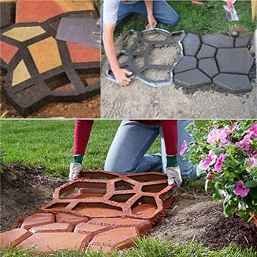 Walk Maker, Pathmate Stone Moldings Paving Pavement Concrete Molds Stepping Stone Paver Walk Way Moulds(Big Size:16.9 x 16.9 x 1.6 inch)