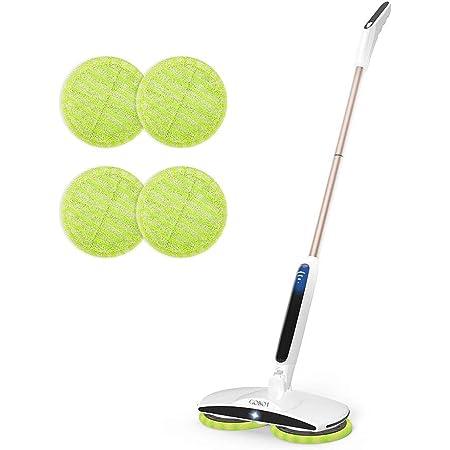 GOBOT 電動モップ 回転 モップ クリーナー コードレス 充電自走式 フロアモップ 長さ調節可 軽量 床掃除モップ 乾拭き 水拭き 掃除用品 収納簡単
