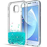 Gypsophilaa Funda Samsung Galaxy J3 2017 3D Glitter Liquido Brillante Silicona Purpurina Carcasa,Transparente Cristal Bumper Telefono Gel TPU Fundas Case Cover para Movil Galaxy J3 2017