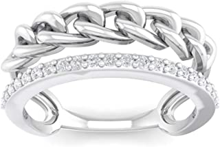 Perrian 18K White Gold 0.15 Carat (SI2 Clarity, GH Color) Round Diamond Ring for Women