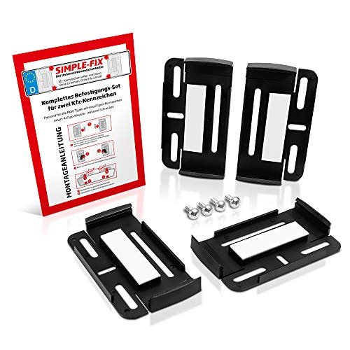 schildEVO Kennzeichenhalter für 2 Autokennzeichen | Simple Fix | Rahmenlose Nummernschildhalter | 2er Set | Auto PKW Kfz | Nummernschildhalterung