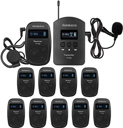 Retekess TT103-TT104 Système de Guide Touristique Systeme de Visite Guidee 140m 200 Canaux pour Visites D usine, Conférence, Tourisme, Logistique (1 Émetteur 10 Récepteurs)