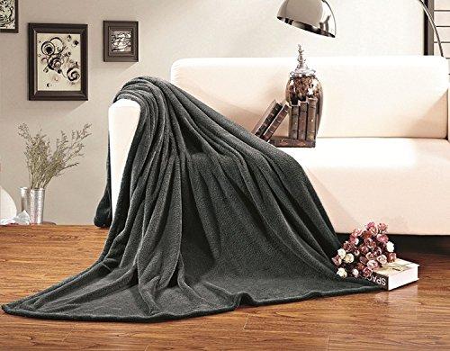 Elegante Komfort-Decke aus Mikrofleece, ultraplüschig, luxuriös, einfarbig, für große oder große Queen, Grau