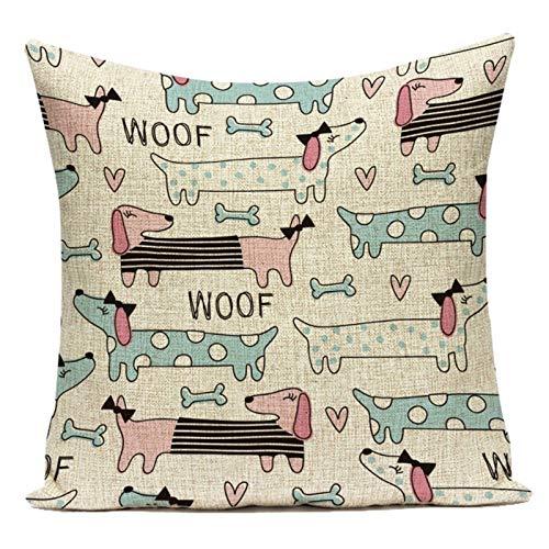 EMRE Soft Cojines, Perros del Dachshund lanzar Fundas de Almohadas de Cama de algodón de Lino Decorativo Cojines, for sofás-Cama, etc. Regalo (Color : L2003 6, Size : Single Side Printing)
