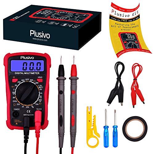 Digital Multimeter - Spannung, Strom und Widerstand Tester Autobatterie zur Messung von AC/DC Spannung, Widerstand, DC Strom Dioden Schaltung Durchgangsprüfung Meter mit Prüfsonden von Plusivo