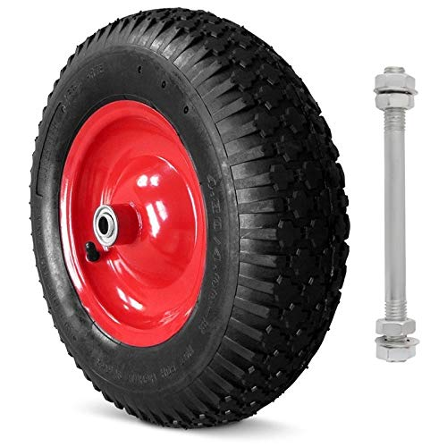 Unbekannt Schubkarrenrad Schubkarre Rad Räder Ersatzrad Luftrad Felge blau 4.00-6 2PR mit Achse