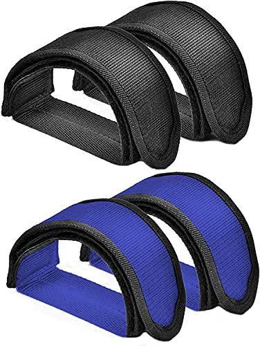 4 Piezas Correas de Pedal de Bicicleta, Toe Clips Straps Cinta Correas de Velcro, para Girar Bicicleta de Ejercicio Bicicleta de hogar o Gimnasio Ciclo (Negro/Azul ).