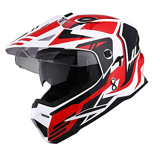 1Storm Dual Sport Motorcycle Motocross Off Road Full Face Helmet Dual Visor Storm Force Red, Size Medium