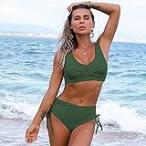 maozuzyy Bikinis Bañador Mujer Bikinis Sexis Sólidos para Mujer, Traje De 2 Piezas, Traje De Baño De Cintura Alta, Trajes De Baño Femeninos, Vestidos De Baño Femeninos para Mujer-03_S