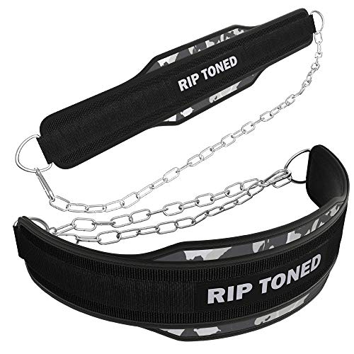 Rip Toned Dip Belt with Chain for Weightlifting, Pull Ups, Dips - 36' Heavy Duty Steel Chain - Weight Belt with Chain for Added Weight While Powerlifting, Bodybuilding, Strength Training
