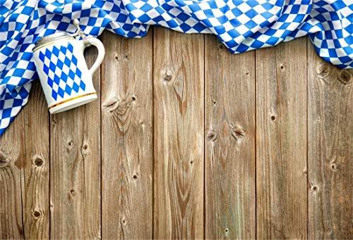 Cassisy 3x2m Vinyl Oktoberfest Fotohintergrund Rustikaler hölzerner Hintergrund Bayerische Flagge Bierkrüge Fotoleinwand Hintergrund für Fotostudio Requisiten Party Photo Booth