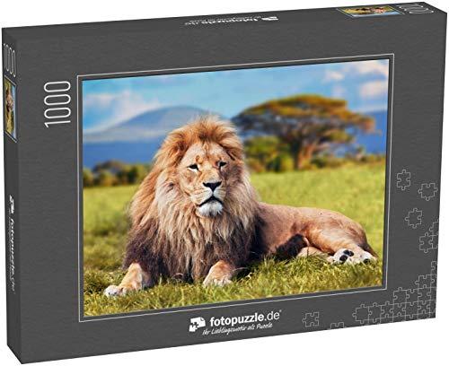 fotopuzzle.de Puzzle 1000 Teile Großer Löwe, der auf Savannengras liegt. Landschaft mit charakteristischen Bäumen in der Ebene und Hügeln im Hintergrund (1000, 200 oder 2000 Teile)