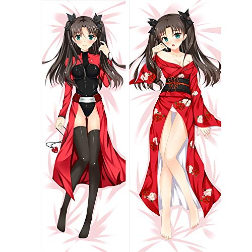Skwingt Body Pillowcase, Anime Fate/Stay Night: Tohsaka Rin Double-Sided Pattern Peach Skin/Upgraded 2WT Pillow Cover for Home Sofa Decorative Anime Fans' Favorite