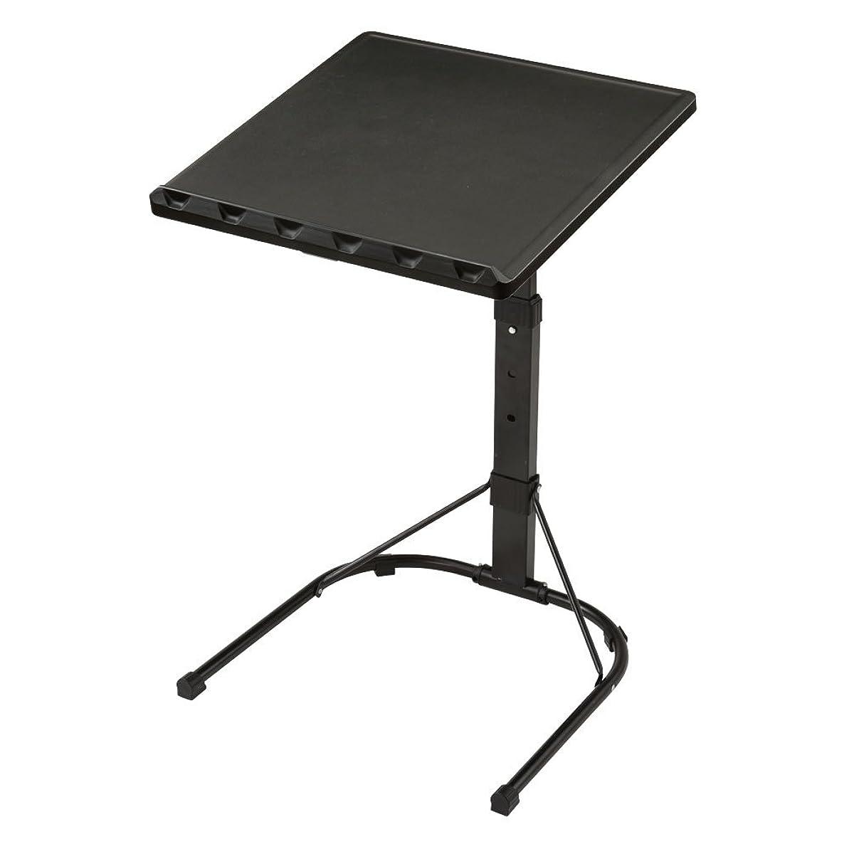リーズ生活仕事ぼん家具 サイドテーブル 折りたたみ 3段階高さ調節 ナイトテーブル デスク ソファ 机 ブラック