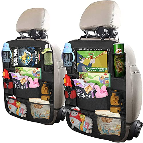 Backseat Car Organizer,matiugod 2 Pack Waterproof and Durable Car Organizer Back seat with Clear Screen 10.5 inch Tablet Holder and 9 Storage Pockets Seat Back Protectors Perfect for Road Trip to Organize Toys Drinks Books Pens