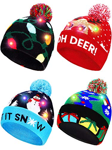 4 Pieces Led Christmas Knitted Hat Light up Xmas Beanie Cap Novelty Unisex Led Winter Snow Hat with 6 Colorful Led
