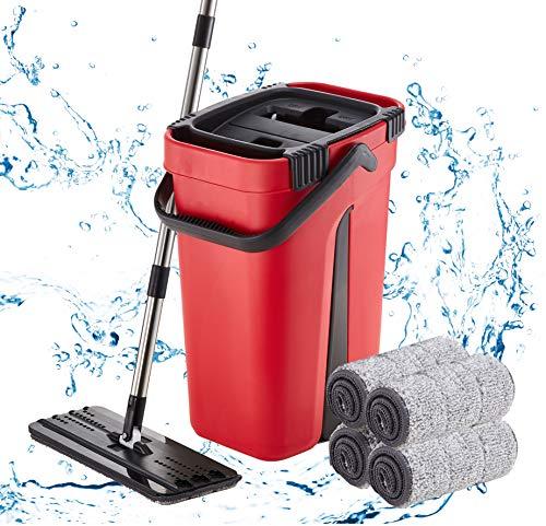 (50% OFF) Flat Mop and Bucket Set W/ 4 Microfiber Reusable Pads $26.00 – Coupon Code
