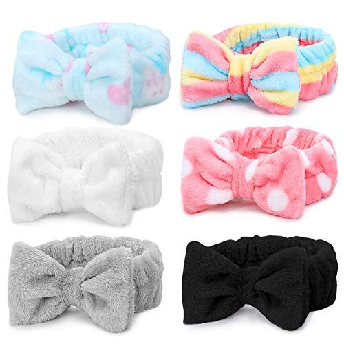 Spa Stirnband - 6er Pack Bowknot Haarbänder Make-up Stirnband Frauen Coral Fleece Elastisches Stirnband Waschen Gesichtshaarwickel für kosmetische Gesichtsdusche Yoga Sport (Multi-colored D)