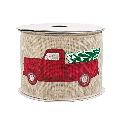 Pickup Truck Wired Christmas Ribbon - 2 1/2' x 10 Yards, Natural Faux Burlap, Red Truck with Christmas Tree, Decor for Wreaths, Garlands, Swags, Bows, Boxing Day, Winter
