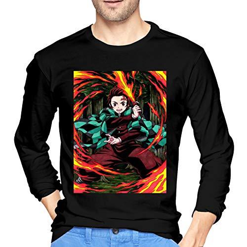 DCEGas Demon Slayer Kimetsu No Yaiba & Kamado Tanjiro Algodn Camisetas de manga larga para hombre, color negro