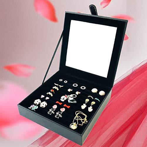 CAI Haushalt Aufbewahrungsbox Massivholz Schmuckschatulle/Single Layer Schmuck Display Box/Ring Ohrringe 23 * 23 * 5,5 cm täglichen Bedarfs,Schwarz