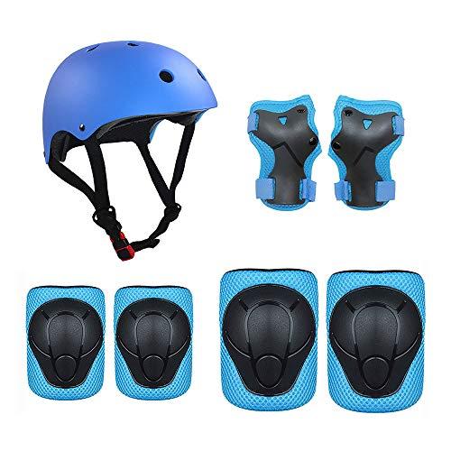Gobesty - Ginocchiere per bambini, 7 in 1, protezione in linea con casco, set di protezioni per bambini, per skateboard, skateboard, pattinaggio, ciclismo, pattinaggio (blu, S)