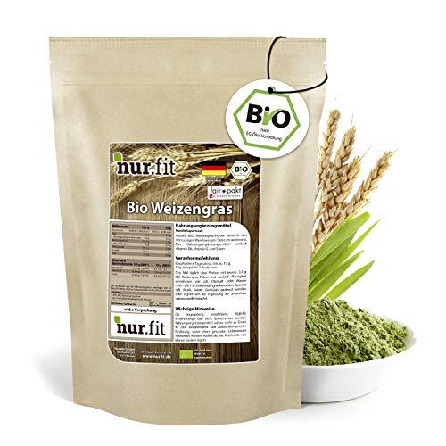 nur.fit by Nurafit BIO Weizengras Pulver 250g - rein natürliches Pulver aus Weizengras ohne Zusatzstoffe – Bio zertifiziertes Green-Smoothie-Pulver in Rohkostqualität