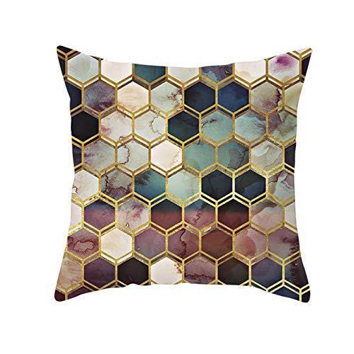 AtHomeShop Funda de cojín de 50 x 50 cm, de poliéster con diseño de azulejos hexagonales, suave, cuadrada, para el hogar y el sofá, decoración de dormitorio, multicolor, estilo 13