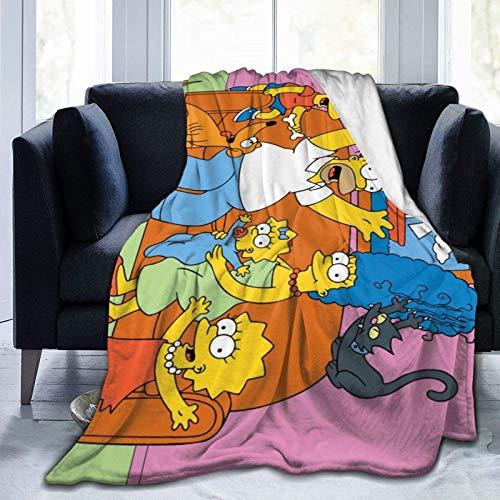 wenhe The Simp-Sons1 - Manta de forro polar acogedora hecha de franela de felpa, manta para el hogar, cama, sofá, resistente a las arrugas, manta suave, medidas 150 x 100 cm para niños