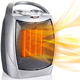 Portable Electric Space Heater 1500W/750W, Ceramic Room Heater with Tip Over and Overheat Protection, 200 Square Feet Fast Heating for Indoor Office Desk Home, ETL Certified, Sliver