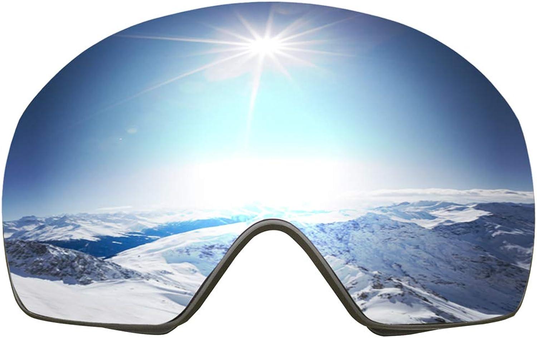 Careonline OTG Ski Goggles, Frameless Snowboard Goggles Interchangeable Lens UV400 Predection AntiFog Snow Goggles for Men Women