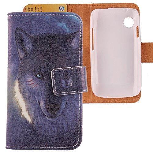 Lankashi PU Flip Leder Tasche Hülle Hülle Cover Schutz Handy Etui Skin Für Wiko Ozzy Wolf Design