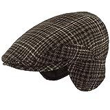 Gorro de invierno para hombre, con orejeras, plano, 100 % lana,...