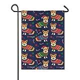 Bandera de arpillera para jardín con diseño de corgis de doble cara, banderas de patio, para vacaciones, decoración al aire libre, regalo de 12 x 18 cm