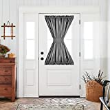 French Door Curtain 40 InchesLong Thermal InsulatedLinen Texturedwith Tieback Privacy Room Darkening 1 Panel Grey