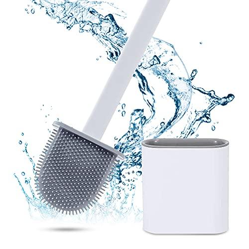 Escobilla de baño, escobilla de inodoro de silicona y recipiente, con mango largo, base antigoteo, con soporte de secado rápido, cepillo de pared para cuarto de baño, baño de invitados (color blanco)