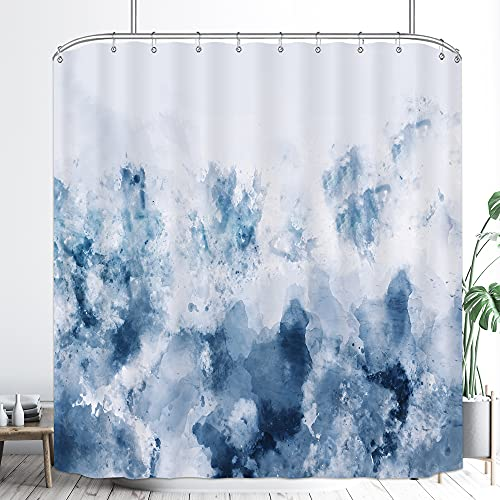 Riyidecor Abstract Watercolor Ombre Blue Shower Curtain 72WX72H Inch Gray Cold White Modern Art Gradient Painting Decor Bathroom Set Fabric Polyester 12 Pack Plastic Shower Hooks